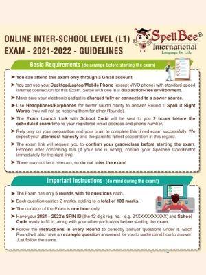 Online interschool level exam (L1) 2021-22 Guidelines